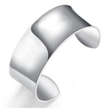 【米蘭精品】925純銀手環手飾寬版素面經典復古