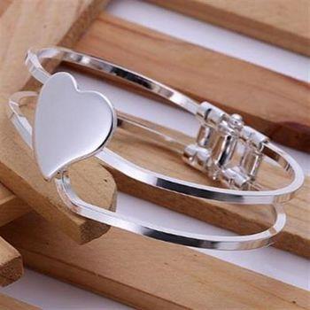 【米蘭精品】925純銀手環手飾韓版百搭愛心造型