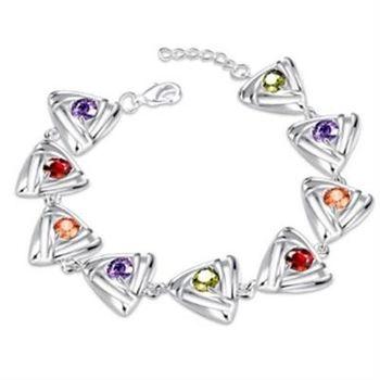 【米蘭精品】925純銀手鍊水晶手飾獨特創意三角形造型