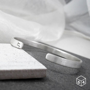 ART64 訂製手環/手鐲  刻字姓名縮寫-A 手環(大) 英文 文字 純銀C型手環-64DESIGN
