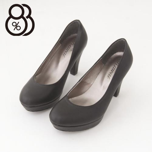 【88%】台灣製專櫃款時尚OL舒適好穿素面淺口厚底9CM高跟鞋(黑皮)