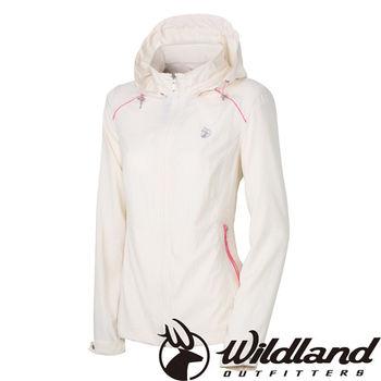 【荒野wildland】女彈性透氣抗UV輕薄外套 米白色 (0A31903-81)