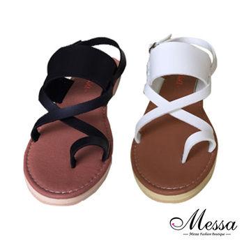 【Messa米莎專櫃女鞋】MIT 簡約交叉套指繫裸平底涼鞋-二色