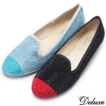 【Deluxe】全真皮繽紛色塊經典水鑽平底鞋(黑★藍)