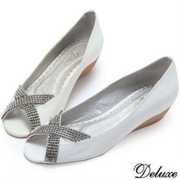 【Deluxe】全真皮水鑽交叉閃耀跟鞋(白)