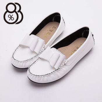 【88%】台灣製 蝴蝶結舒適皮革材質 圓頭包鞋 豆豆鞋(白色)