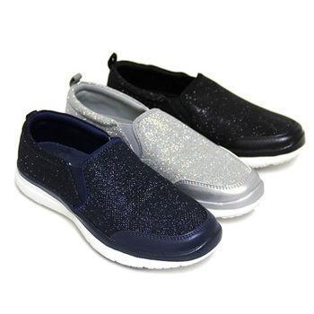 【GREEN PHOENIX】SNAIL蝸牛_耀眼悠閒單色亮粉套入式輕量休閒平底懶人鞋-藍色、銀色、黑色