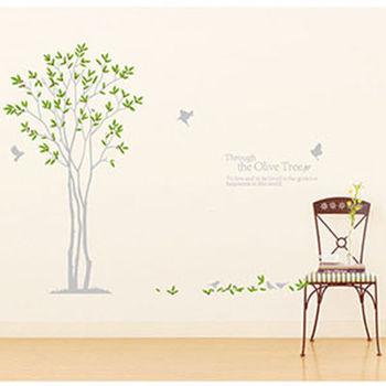 窩自在★DIY無痕創意雙拼牆貼/壁貼_相思橄欖樹_JM7216AB