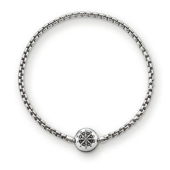 德國Thomas Sabo Karma Beads 硫化925純銀串飾手鍊(寬度:0.3 cm)KA0002-001-12
