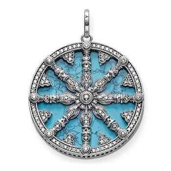 德國Thomas Sabo Karma Beads綠松石卡瑪之輪銀墜項鍊吊飾(尺寸:3.8cm)PE669-405-17