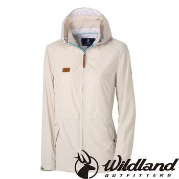 【荒野wildland】女SUPPLEX抗UV時尚外套 白卡其 (0A31905-83)