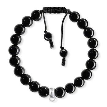德國Thomas Sabo Charm Club 黑曜石可調式綁繩吊飾手環X0157-023-11