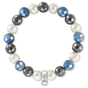 德國Thomas Sabo Charm Club 藍線石赤鐵石白珍珠吊飾手環X0198-662-7