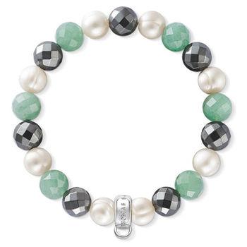 德國Thomas Sabo Charm Club 綠色砂金石赤鐵石白珍珠吊飾手環X0197-665-7