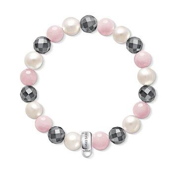 德國Thomas Sabo Charm Club赤礦石蔷薇石英白珍珠吊飾手環X0188-581-7
