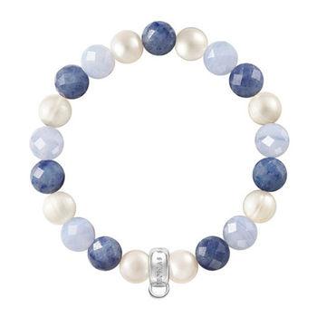 德國Thomas Sabo Charm Club 藍線石玉髓白珍珠吊飾手環X0210-772-7