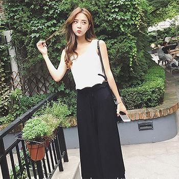 【Fabulous!!】韓版夏日熱賣涼爽鬆緊腰超顯瘦九分寬褲