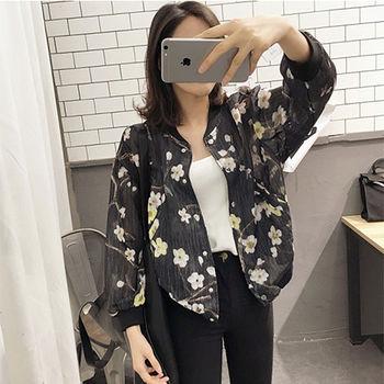 【Fabulous!!】韓版花花歐根紗夏季薄透棒球外套罩衫(黑 白 可選)