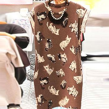 【Fabulous!!】韓版可愛貓咪蕾絲拼接連身裙