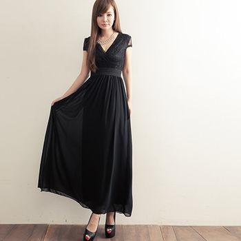 Candy小舖  V領低胸設計 素色典雅波西迷亞風格 縮腰長裙