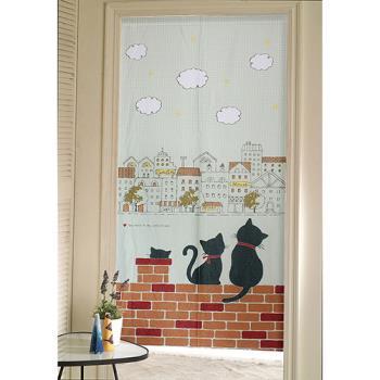 【巴芙洛】日式門簾-紅磚上的貓咪情侶