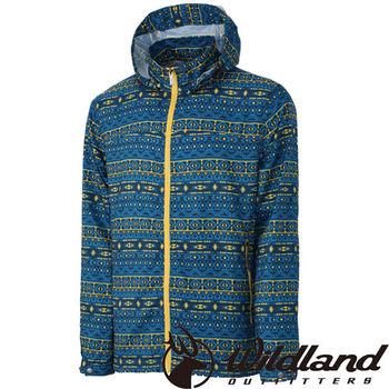 【荒野wildland】男彈性印花抗UV輕薄外套 中藍色 (0A31998-77)