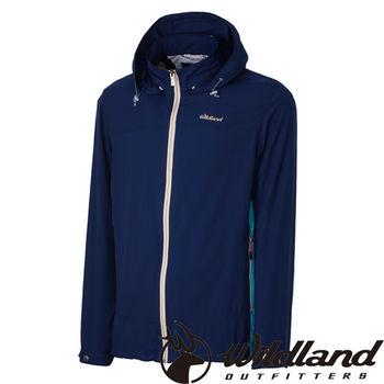 【荒野wildland】男彈性透氣抗UV輕薄外套 深藍色 (0A31906-72)
