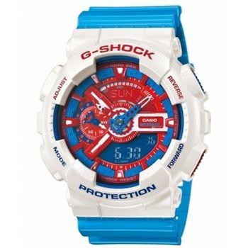 CASIO 卡西歐 G-SHOCK 經典潮流大錶殼指針數位雙顯錶-紅X藍X白 (GA-110AC-7A)