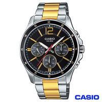 CASIO卡西歐 三眼男仕金系鋼帶腕錶 ^#45 黑面 MTP ^#45 1374SG ^