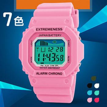 時刻美SKMEI時尚繽紛色彩方型電子錶6918