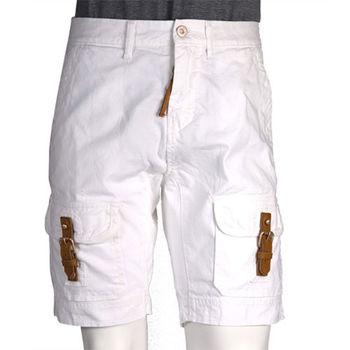 Frankie morello 皮釦造型口袋牛仔短褲(白)