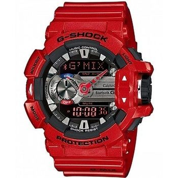 CASIO 卡西歐 G-SHOCK 音樂控制系列 大錶徑藍牙雙顯錶-紅 (GBA-400-4A)