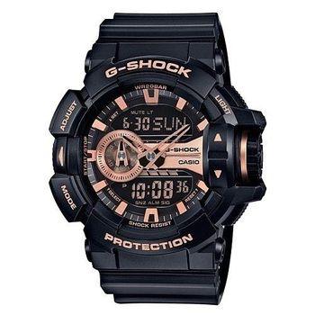CASIO 卡西歐 G-SHOCK 大錶徑電子錶-玫瑰金 GA-400GB-1A4