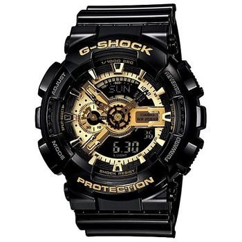CASIO 卡西歐 G-SHOCK 低調黑重機風格 指針雙顯錶-黑X金 (GA-110GB-1A)