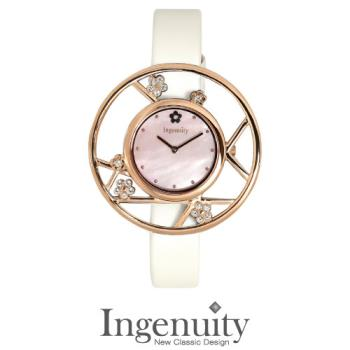 Ingenuity 時尚典雅女錶梅花款 玫瑰金框 珍珠白皮帶