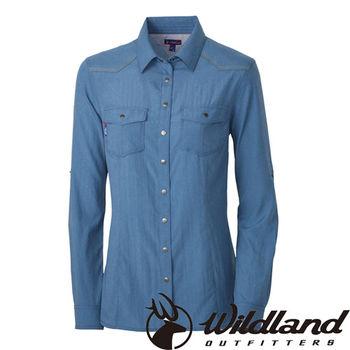 【荒野wildland】女RE雙色時尚抗UV長袖襯衫 深灰藍 (0A31293-49)