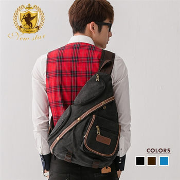 NEW STAR 韓風配皮水滴包單肩包帆布包後背包 BK154