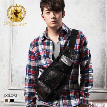NEW STAR 韓風尼龍配皮側背包後背包腰包單肩背包 BK77