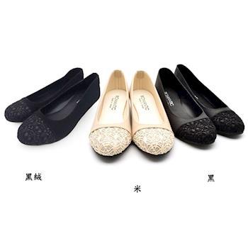 【ShoesClub】【023-A1241】台灣製MIT 韓妞最愛金蔥蕾絲低跟娃娃鞋.3色 黑/米/黑絨