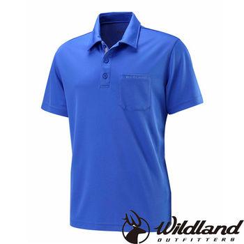 【荒野wildland】男疏水纖維POLO排汗衣 海藍色 (W1622-52)