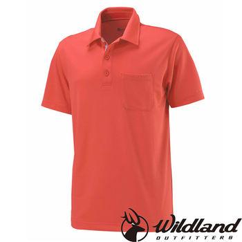 【荒野wildland】男疏水纖維POLO排汗衣 橘紅色 (W1622-13)