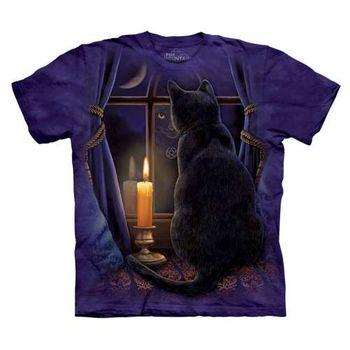 【摩達客】(預購)美國進口The Mountain 守夜貓 純棉環保短袖T恤