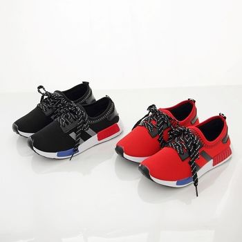 潮流輕量休閒鞋/走路鞋-裝飾鞋帶懶人鞋/鬆緊帶收口網布運動鞋《DOOK》