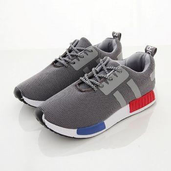《DOOK》潮流輕量休閒鞋/綁帶款網布走路鞋-灰色