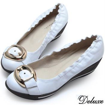 【Deluxe】全真皮成熟金屬飾扣後底低跟包鞋(白)