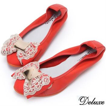 【Deluxe】全真皮優雅蕾絲淑女娃娃包鞋(橘)