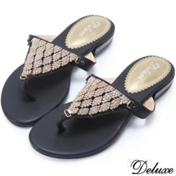 【Deluxe】全真皮閃耀女神光澤鑲鑽夾腳涼鞋(黑)