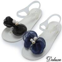 ~Deluxe~青春氣質網紗珍珠花夾腳涼鞋 ^#40 黑~藍 ^#41
