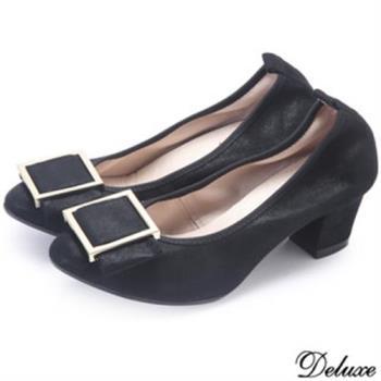 【Deluxe】全真皮尖頭方形金屬釦低跟鞋(黑)