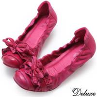 ~Deluxe~全真皮 簍空波浪蝴蝶跟鞋 ^#40 桃 ^#41